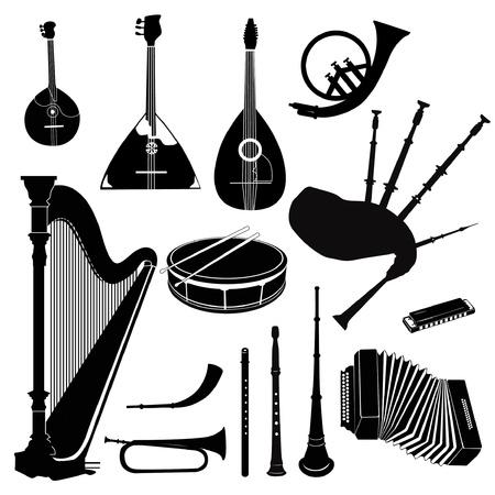 harmonica: Music instruments vector set  Musical band equipment