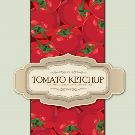 Tomato label  Package vector illustration  Ripe vegetable autumn background with copy space Vector