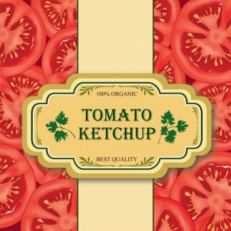 salsa de tomate: Tomate etiqueta vector ilustración de hortalizas maduras Slised con perejil Vectores
