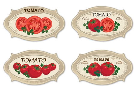 Tomato label vector set Ripe vegetable slised with parsley