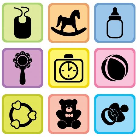 bottle feeding: beb� iconos vectoriales set symblos cuidado del beb�
