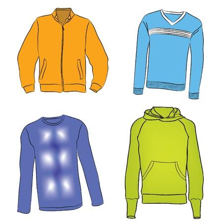 Paño de vector vestido de la manera caliente del invierno conjunto Ilustración de vector