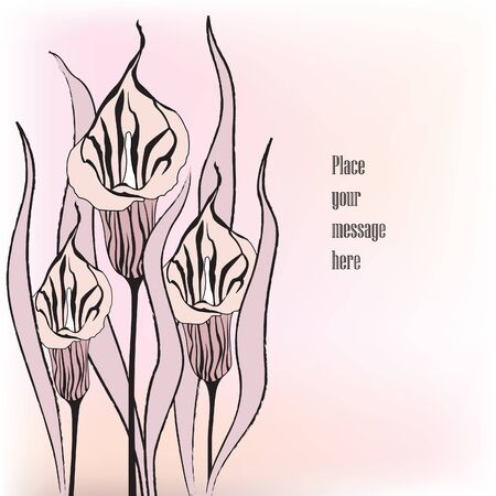ink painting: Floral black and white background  Flower cals stylish card with copy space  Stock Photo
