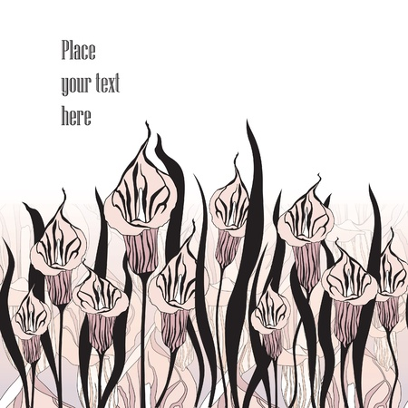 ink painting: Floral black and white background  Flower cals silhouettes border  Stock Photo