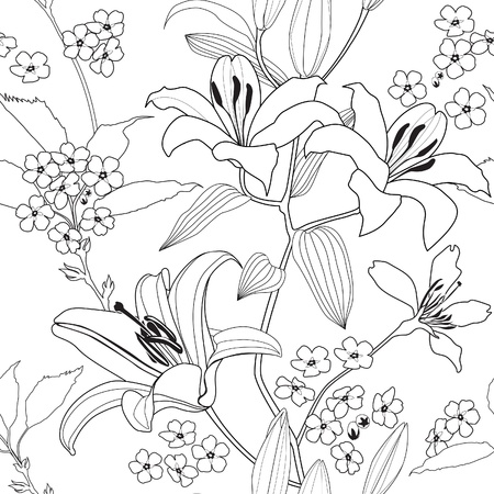 Flower lily background  White floral wallpaper  Flourish pattern photo