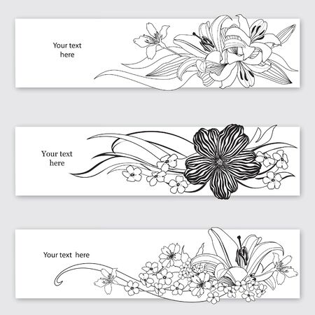 lilies: Flower background  Flourish card set  white floral border Stock Photo