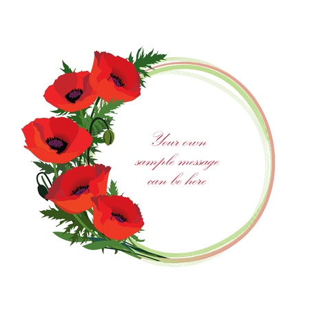 Flower frame with copy space  Wreath with meadow flowers poppy  Stock Photo