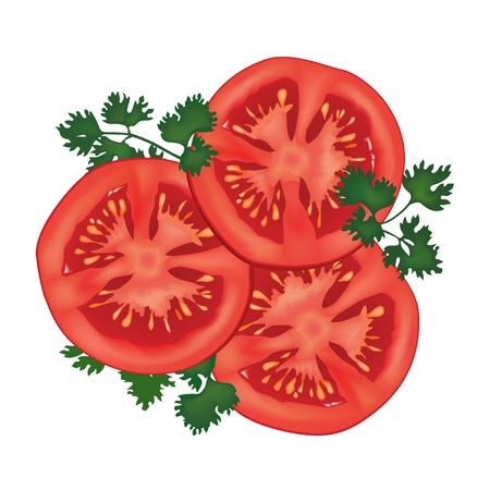 tomato slice: Tomamto with parsley slised isolated over white background
