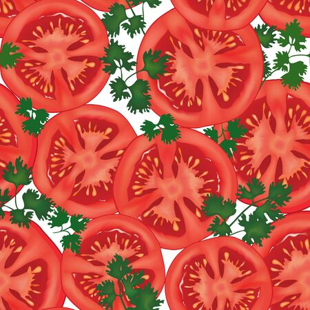 Tomamto with parsley slised isolated  Seamless patterrn  vegetable background photo