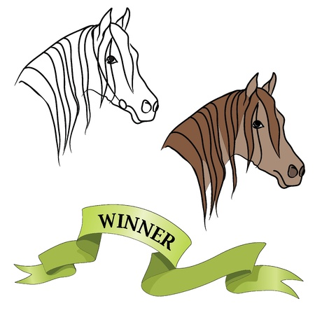 Horse head and winner ribbon set  Vector