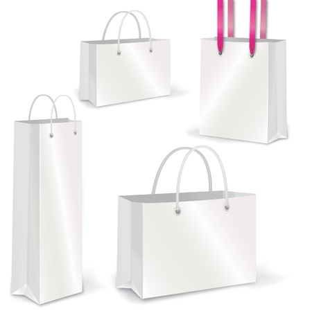 Empty Shopping Bag on white for advertising and branding  Vector set Vector