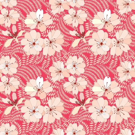 Flower background  Seamless pattern with flowers, vector floral illustration  Red summer backdrop Vector