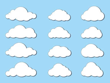Clouds icons set  Blue sky with clouds  Vector background  Vector