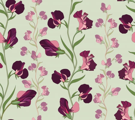 flower seamless background  floral seamless pattern with lilac and pink sweet pea   Vector