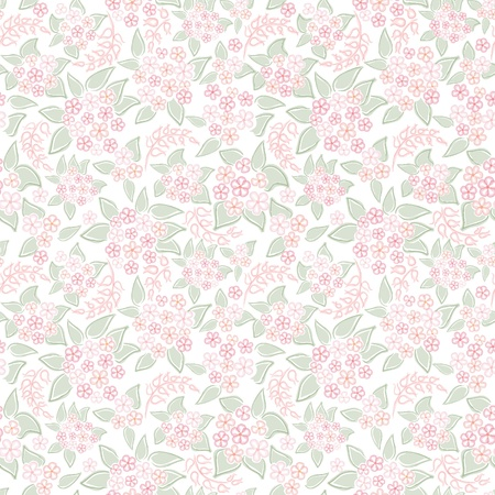 Flower background  Seamless pattern with flowers, vector floral illustration  Pink flourish backdrop Vector