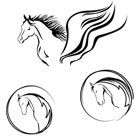 horse drawn: Horse head label  Vector set of hand drawn icons