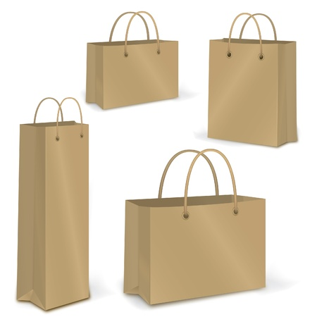 carry bag: Empty Shopping Bag over white for advertising and branding  Vector set