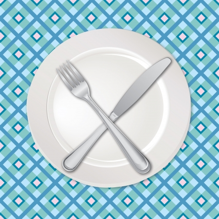 Empty plate with knife and fork on seamless checkered background   Vector