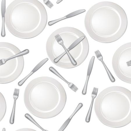 Empty plate with knife and fork on white  Seamless vector  background   Vector