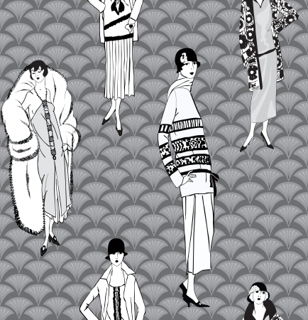 Flapper girls  20 s style  seamless pattern  Retro fashion party background Stock Vector - 19335292