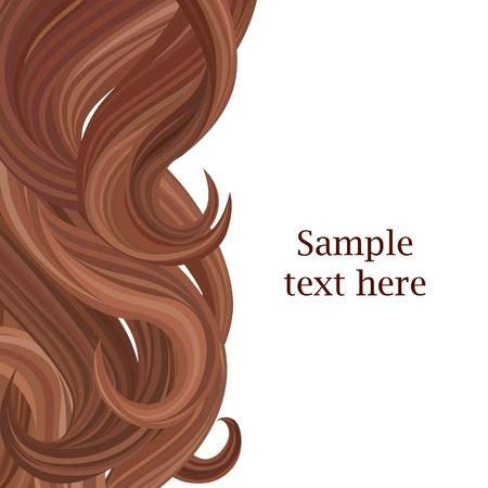 pelo ondulado: Fondo de pelo plantilla del cartel del estilo de pelo Ilustraci�n vectorial