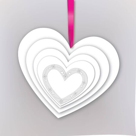 Greeting card with heart and ribbon with copy space Vector