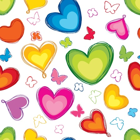 multicolour: hearts and butterfly seamless background  St  Valentin s day pattern  Abstract paintbrushed  texture  Illustration