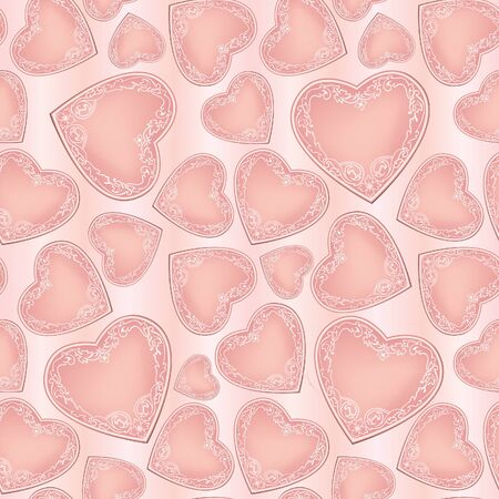 hearts festive seamless background  St  Valentin s day pattern  Abstract pink texture Stock Vector - 19335288
