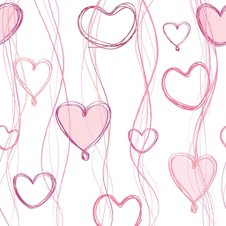 shiny hearts: heart and ribbon seamless background  St  Valentin s day pattern  Abstract paintbrushed  texture  Illustration