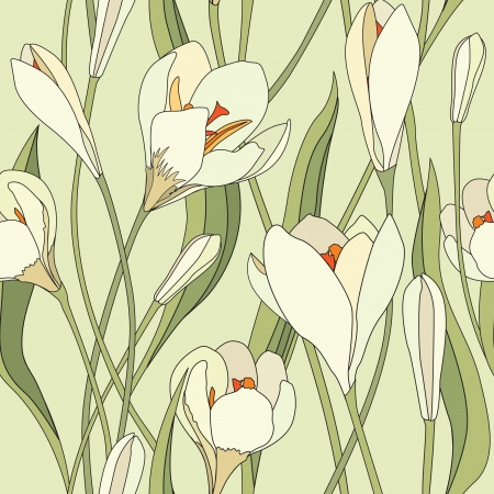 crocus: Flower bouquet Spring background  crocus flowers seamless pattern