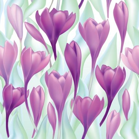 asian gardening: Flower bouquet Spring background  crocus flowers seamless pattern