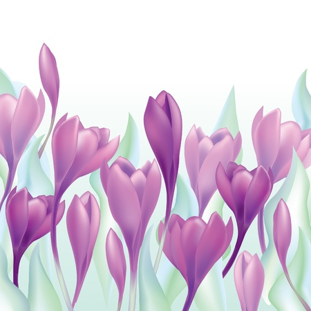 fabric art: Flower bouquet Spring background  crocus flowers seamless border pattern