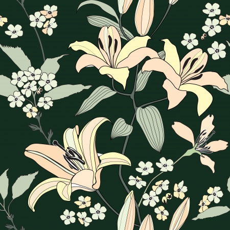 floral seamless pattern with gentle flowers lily   Flourish seamless background   Vector