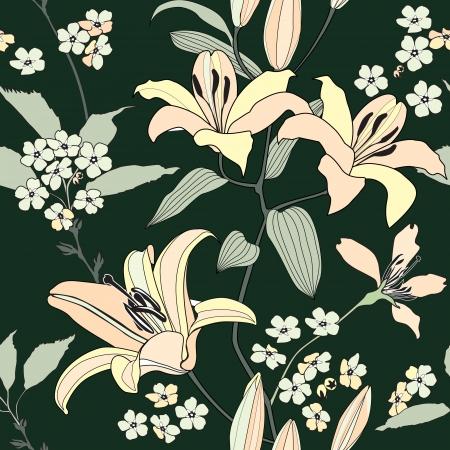 lirio blanco: sin patr�n floral con flores de lirio suave Flourish fondo sin fisuras Vectores