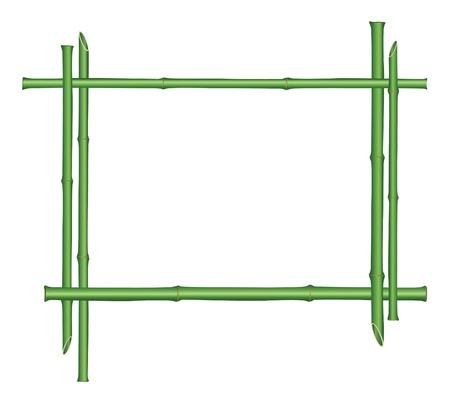 bamboo border: wooden frame of bamboo sticks isolated on white background  Illustration