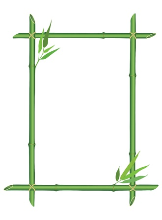 bamboo frame: bamboo frame with leaves decor isolated on white background