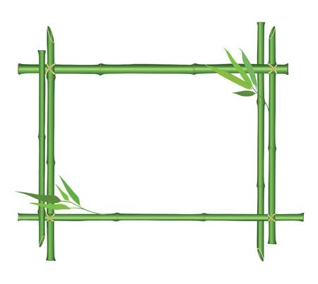 japones bambu: marco de bambú con una decoración hojas aisladas sobre fondo blanco Vectores