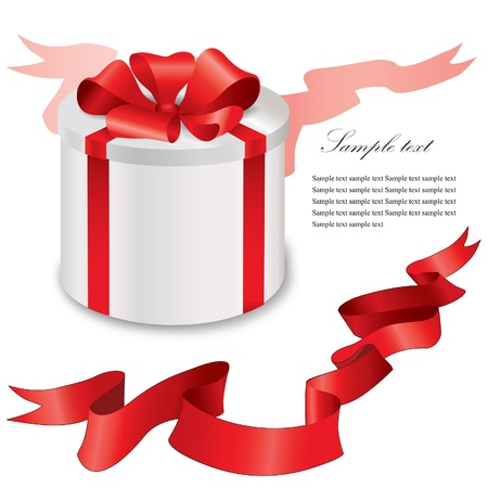 Gift box with red ribbons bow Stock Vector - 19621183