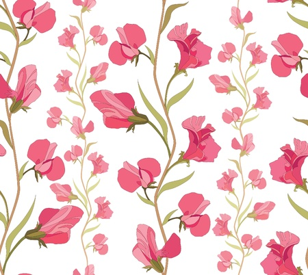 wavy fabric: Floral seamless texture with sweet pea flowers Illustration