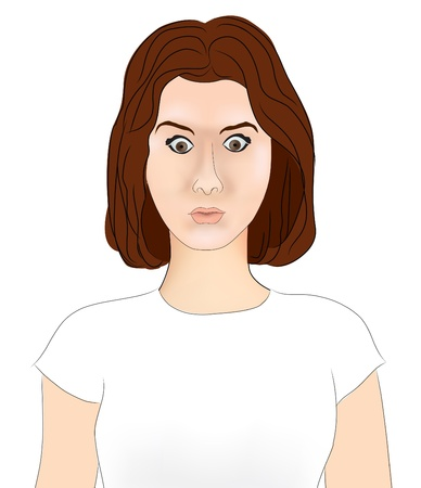 Close-up portrait of surprised beautiful girl open-mouthed  Over white background  Vector