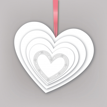 Abstract white paper love heart shaped background   Vector
