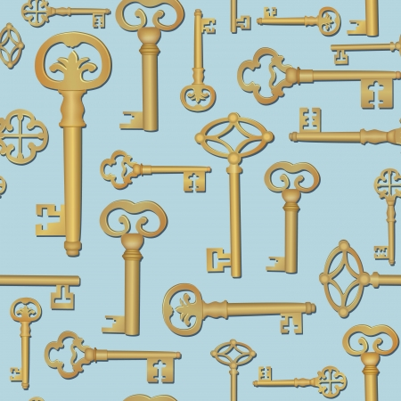 Antique key seamless pattern  Retro background   Vector