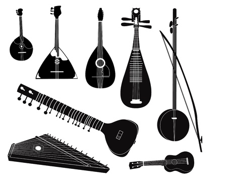 ukulele: Ethnic music instruments set on white background