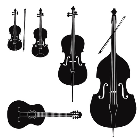 violines: Cuerda silueta instrumento musical sobre fondo blanco Vectores