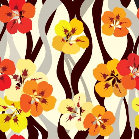 flower seamless background  floral seamless wallpaper with Indian cress flowers   Stock Vector - 19619496