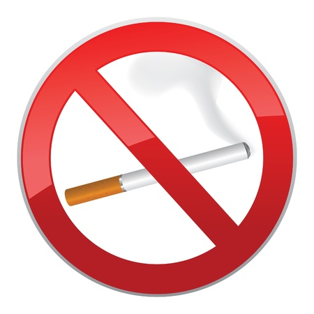 No smoking symbol  Inscription made of cigarettes on pure background  Vector