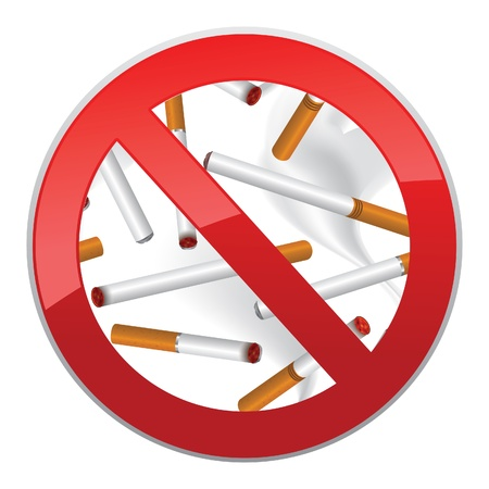 No smoking symbol  Inscription made of cigarettes on pure background Stock Vector - 19620955