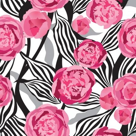 Pink flowers seamless background Illustration