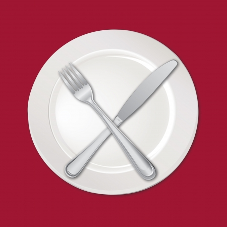 Menu card with plate, fork and knife  Vector