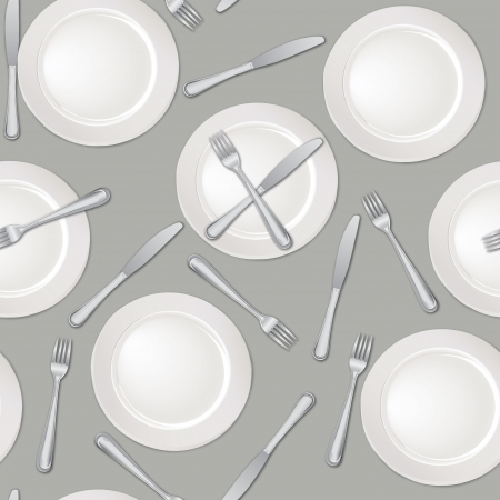 Restaurant seamless background  Plate, fork and knife pattern  Vector illustration   Vector